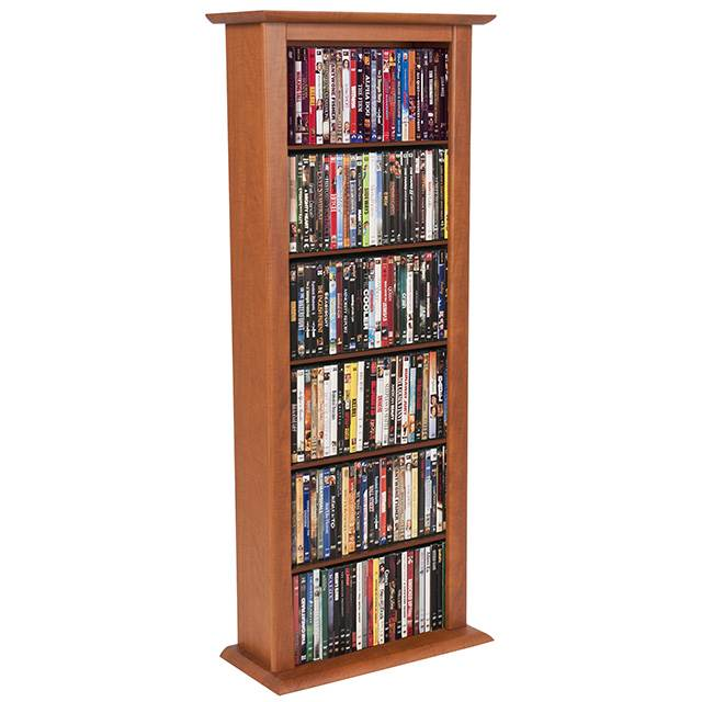 Cherry Finish Single Multi-Media Storage Tower