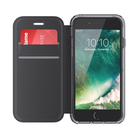 more photos af430 39e1a Griffin Survivor Clear Wallet iPhone 6/6s/7/8 Case with Credit Card Folio  and Non-Yellowing Back Shell - Black/Clear