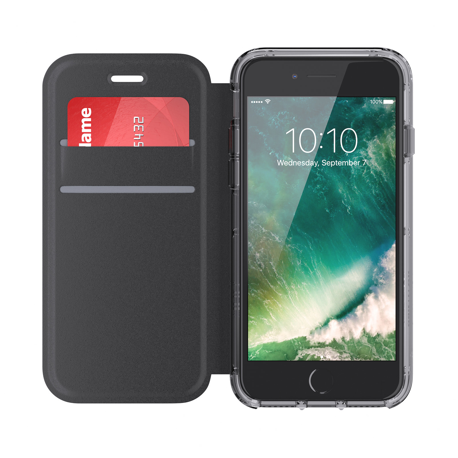 Griffin Survivor Clear Wallet iPhone 6/6s/7/8 Case with Credit Card Folio and Non-Yellowing Back Shell - Black/Clear