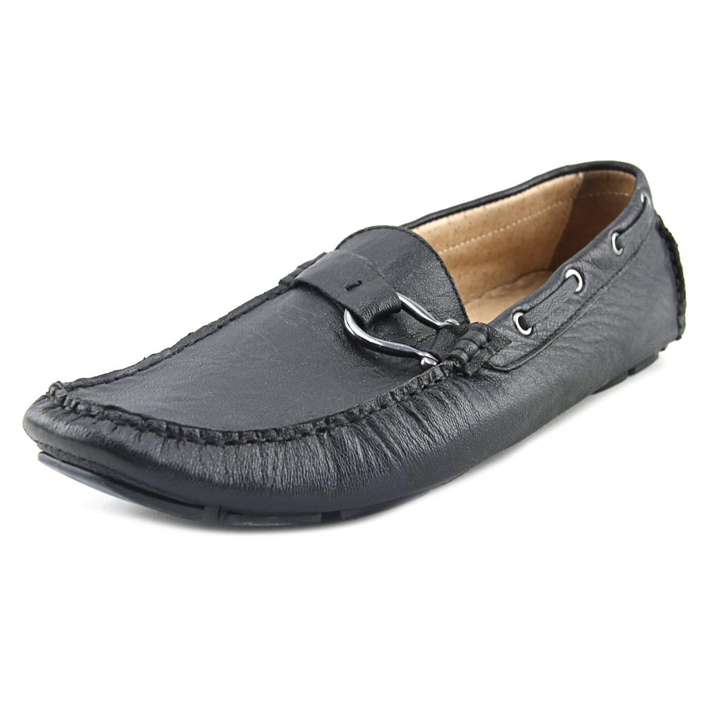 Click here to buy Bacco Bucci Palm Beach Men Moc Toe Leather Black Loafer by Bacco Bucci.