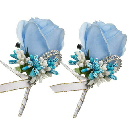 Coolmade 2Pcs Boutonniere Buttonholes Groom Groomsman Best Man Rose Wedding Flowers Accessories Prom Suit Decoration (Blue (Best Place To Plant Knockout Roses)