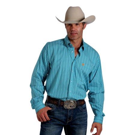 Cinch western shirt mens long sleeve button weave teal for Mens teal button down shirt