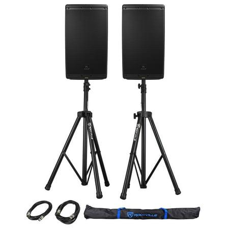 "2) Jbl Eon612 12"" 2000 Watt Powered Dj Pa Speakers Wbluetooth+stands+cables+bag"