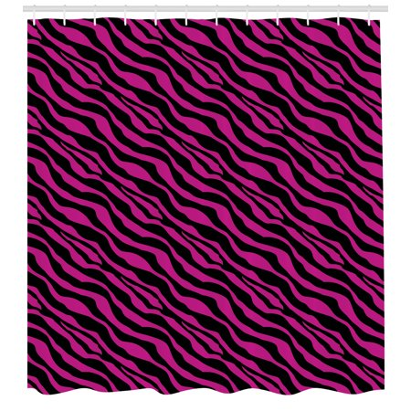 Pink Zebra Shower Curtain, Wild Zebra Background Stripes Savannah African Exotic Youth Culture Hippie, Fabric Bathroom Set with Hooks, 69W X 84L Inches Extra Long, Magenta Onyx, by Ambesonne