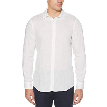 Rolled-Sleeve Solid Linen Cotton Shirt Cotton Business Men Casual Shirt