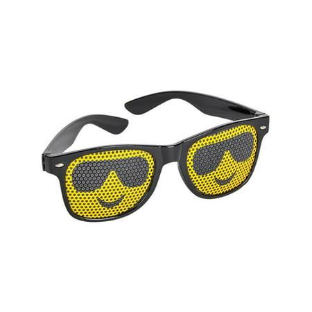 Black Framed Cool Guy Face Emoticon Emoji Novelty Glasses Costume (Glasses For Oblong Face Female)