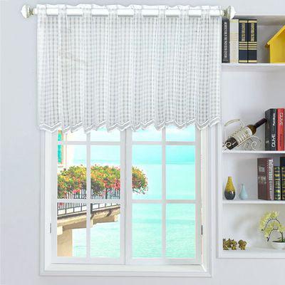 TURNTABLE LAB  Short Curtain, Lace Flower Window Balcony Short Curtain Gauze Kitchen Valance Drape Home Decor