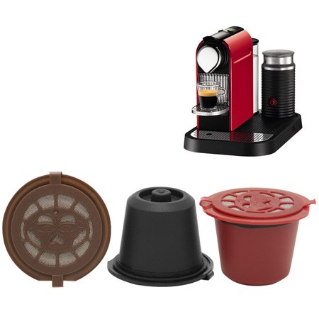 3pcs/pack Refillable Reusable Nespresso Coffee Capsule Filter With with Spoon and Brush 20ML Filters (Best Nespresso Refillable Capsules)