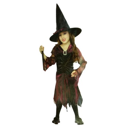 Seasons Girls Black & Red Hologram Witch Costume with Dress & Hat 8-10 (Halloween Hologram)