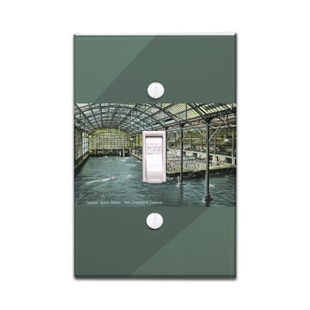 San Francisco, California - Interior View of the Indoor Sutro Baths - Vintage Halftone (Light Switchplate Cover) ()