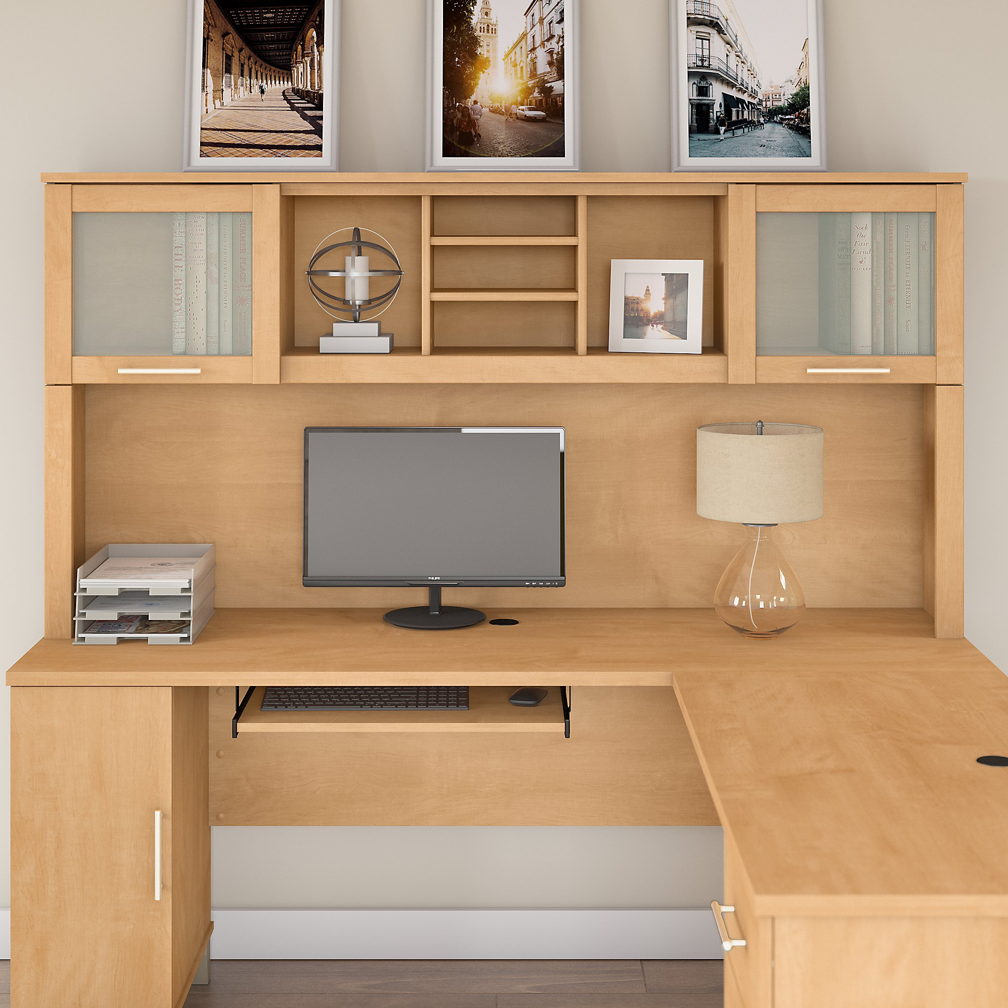 Bush Furniture Somerset 6W Hutch for L Shaped Desk in Maple Cross -  Walmart.com