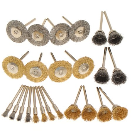 24PC Stainless Steel/Brass Polishing Buffing Wheels Wire Brush Polisher For   Drill Rust Weld Rotary Tool Accessory - image 4 de 11