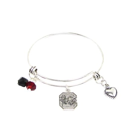 South Carolina Gamecocks Austrian Crystal Silver Wire Bangle Maroon Charm Bracelet Jewelry USC. (Carolina Panthers Jewelry)