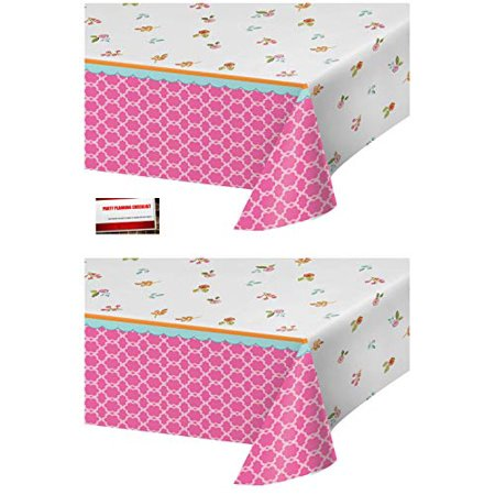 (2 Pack) Tea Time Tea Party Alice in Wonderland Plastic Table Cover 54 X 102 Inches (Plus Party Planning Checklist by Mikes Super Store)](Alice In Wonderland Halloween Party Supplies)