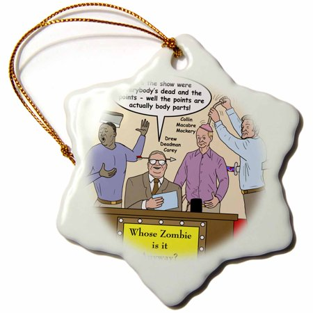 Whose Line Halloween (3dRose Halloween - Zombie Whose Line is it Anyway, Snowflake Ornament, Porcelain,)