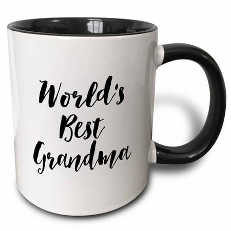 3dRose Phrase - Worlds Best Grandma, Two Tone Black Mug,