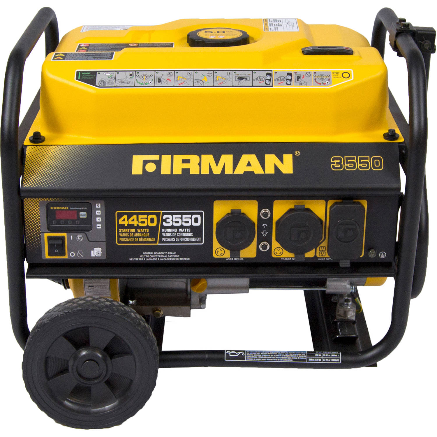 Firman Power Equipment P03501 Gas Powered 3550/4450 Watt (Performance Series) Extended Run Time Portable Generator with Wheel Kit and Cover