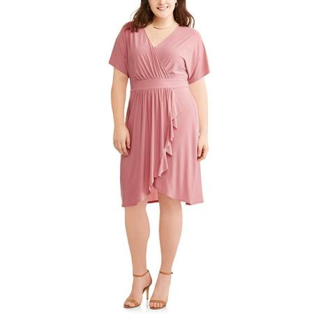Women's Plus Kimono Sleeve Wrap Dress