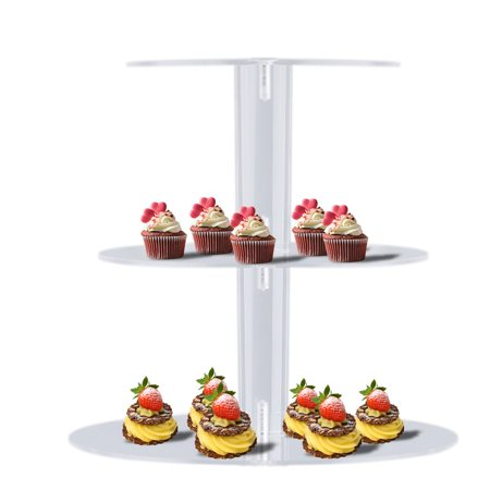 (3 Tier Acrylic Round Cupcake Rack Transparent Wedding Party Birthday Cake Stand Display Stands For Baking Cakes Tools)