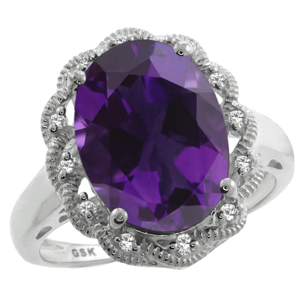 5.81 Ct Oval Purple Amethyst and White Sapphire 925 Sterling Silver Ring