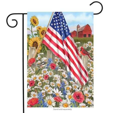 America the Beautiful Summer Garden Flag Patriotic Floral 12.5
