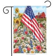 "America the Beautiful Summer Garden Flag Patriotic Floral 12.5"" x 18"""