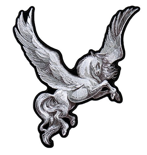 "[Single Count] Custom and Unique (9 Inches) ""Mythical"" Fantasy Magical Creature Pegasus Iron On Embroidered Applique Patch {White and Black Colors}"