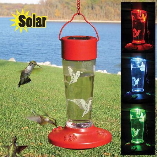 Solar Powered Color Changing Hummingbird Feeder Walmart Com