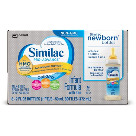 Similac Pro-Advance Infant Formula with 2'-FL Human Milk Oligosaccharide (HMO) for Immune Support, Ready to Feed, 48 2 fl oz bottles (comes in 6, 8 count, boxes)