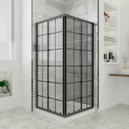SUNNY SHOWERS Double Sliding Opening Shower Doors with Base, 1/4'' Clear Glass Elegant Showers Enclosure 36''D x 36''W x 72''H, 2 Stationary Clear Glass Panels Shower Door, Black Silk Screen
