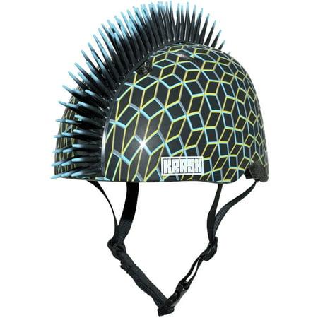 Helmet Mohawk Accessories - Krash Techno Geo Mohawk Youth Helmet, Black