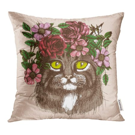 Animals With Tattoos (CMFUN Boho Maine Coon Cat Portrait with Floral Wreath Animal for Your Design Tattoo Pillowcase Cushion Cases 16x16)