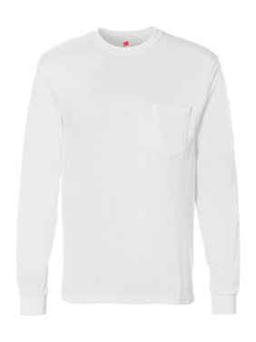 61548b9ee Product Image Hanes T-Shirts - Long Sleeve Tagless Long Sleeve T-Shirt with  a Pocket