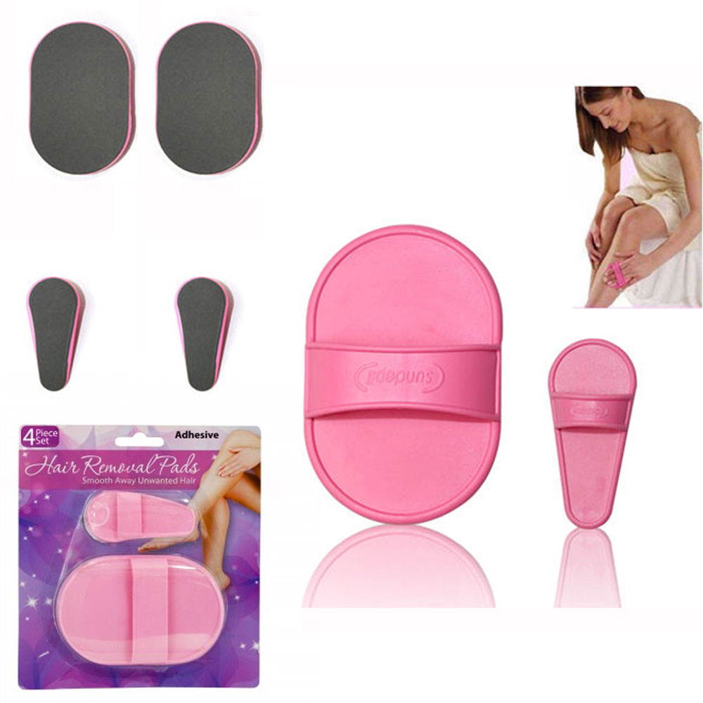 4 Pc Hair Removal Exfoliating Kit Smooth Leg Skin Pad Arm Face Upper Lip Remover