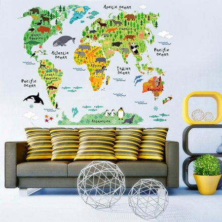 Colorful Animal World Map Wall Sticker Home Decal for Kids Baby Room Living Room Mural Wall Art Decor (Baby Mural)