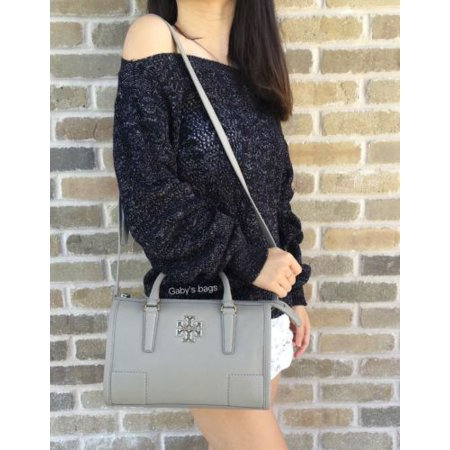 10e0f0cc0bd6 Tory Burch - Tory Burch Britten Zip Satchel Handbag French Gray Crossbody  Tote - Walmart.com