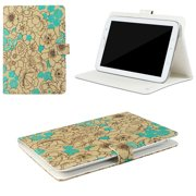 "JAVOedge Turquoise Poppy Pattern Universal Book Case for 7-8"" Tablets, iPad Mini, Samsung Tab, Nexus 7, Nook HD and More"