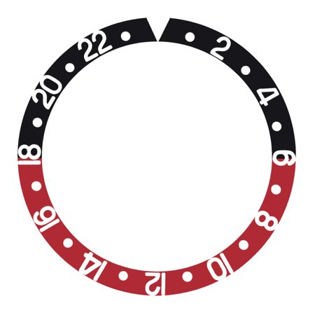 BLACK/RED BEZEL INSERT FOR ROLEX GMT I, II COKE 16700 16710 16718 16753 16760 - Gmt Bezel Insert