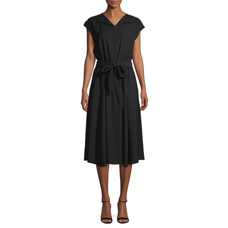 Cap-Sleeve Self-Tie Midi Dress (Ak Anne Klein Sport Womens Guardian Dress Pump)