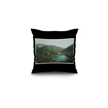 White Mts., New Hampshire - Aerial View of Echo Lake and Franconia Notch (16x16 Spun Polyester Pillow, Black Border) ()