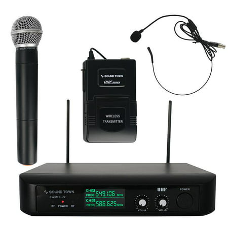 Sound Town Professional Dual-Channel UHF Wireless Microphone System with LED Display, 1 Handheld Mic, 1 Headset Mic, 1 Bodypack Transmitter (SWM10-U2HB)