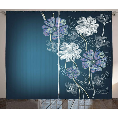 Art Curtains 2 Panels Set, Hand Drawn Cherry Blossoms Fantasy Elegant Garden Bridal Anniversary Theme, Window Drapes for Living Room Bedroom, 108W X 90L Inches, Blue Lavander White, by Ambesonne