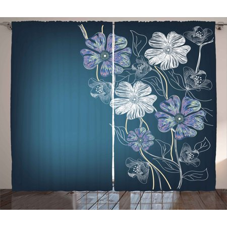 Art Curtains 2 Panels Set, Hand Drawn Cherry Blossoms Fantasy Bridal Garden Anniversary Theme, Window Drapes for Living Room Bedroom, 108W X 63L Inches, Petrol Blue Lavander White, by Ambesonne