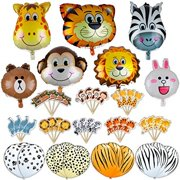 Jungle Animals Foil Latex Balloons Birthday Party Decorations Lion Tiger Monkey Zebra Giraffe Cow SAFARI ZOO Cupcake Toppers Pac