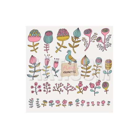Wholesale Nice Design (Floral Set in Vector. Cartoon Flowers in Pastel Colors for Nice Designs Print Wall Art By)