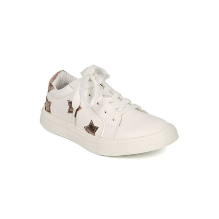 Girls Converse All Stars (New Girl Little Wild Diva Andy-04 PU Two Tone Stars Round Toe Lace Up)