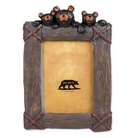 Black Bear Trio 8 x 2 x 10.5 Inch Resin Crafted Tabletop 4x6 Picture Frame