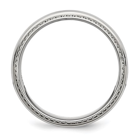 Stainless Steel Polished Textured Edged 8mm Ring 11.5 Size - image 1 of 4