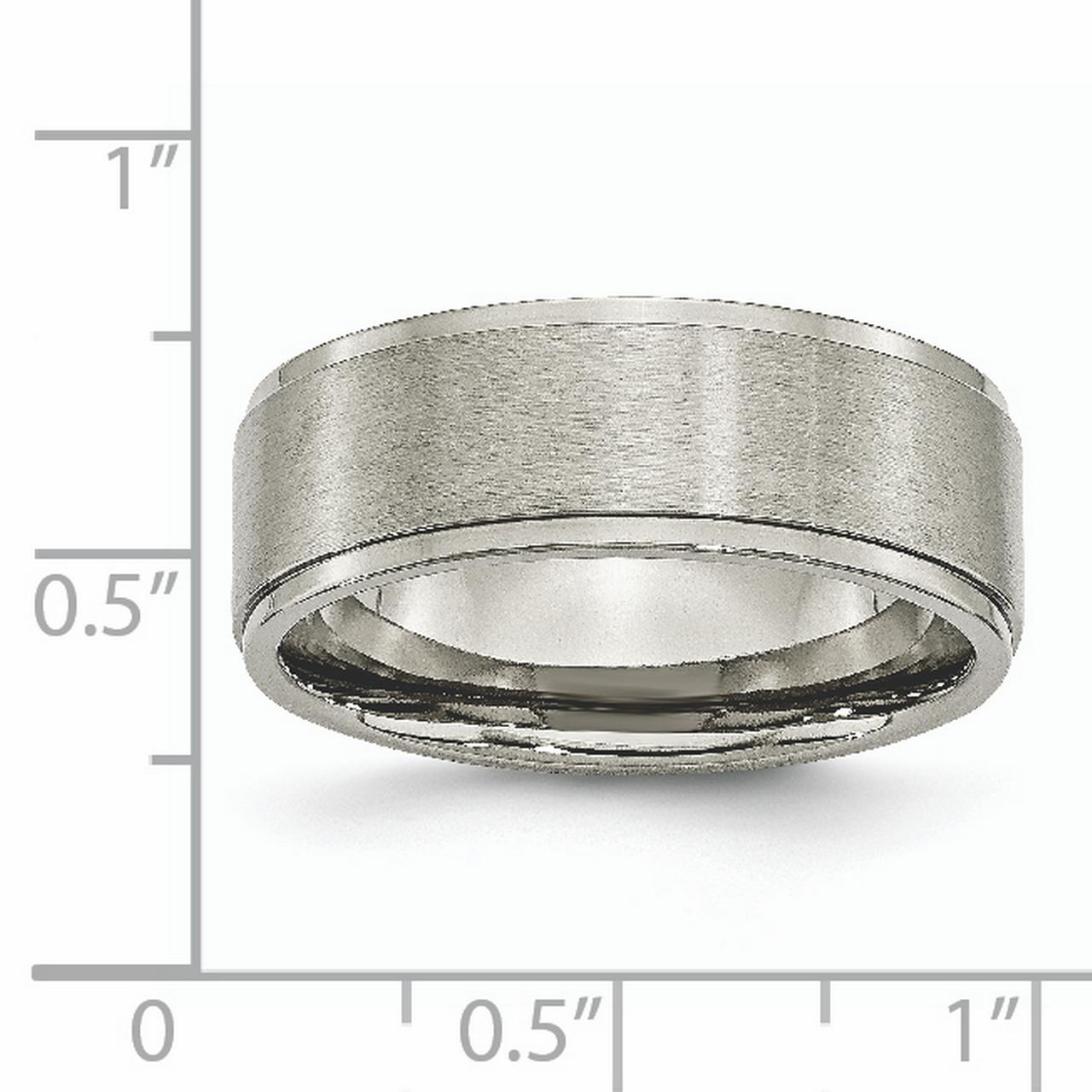 Titanium Ridged Edge 8mm Brushed Wedding Ring Band Size 8.50 Classic Flat W/edge Fashion Jewelry Gifts For Women For Her - image 5 of 6