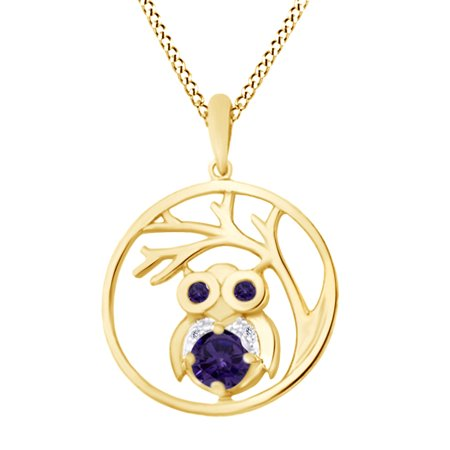 Round Cut Simulated Alexandrite Stone With White Diamond Owl Tree Of Life Pendant Necklace In 14K Yellow Gold Over Sterling Silver